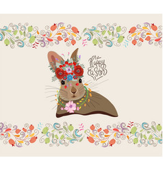 happy easter with rabbit and floral doodle frame vector image