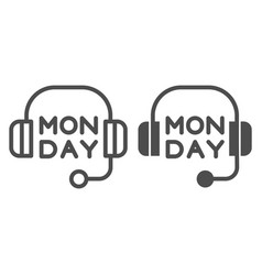 Headphones line and glyph icon headset with text vector