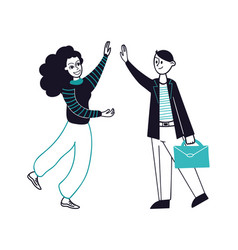 high five business partners meeting happy woman vector image