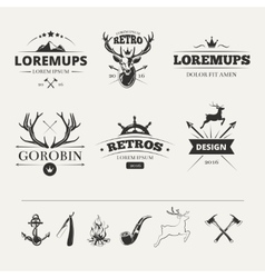 Hipster labels set with deer and antlers vector