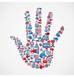 I vote in USA elections icons hand vector image