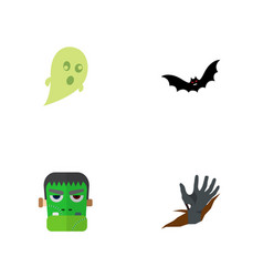 Icon flat celebrate set of ghost zombie corpse vector