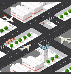 Isometric 3d airstrip city international vector