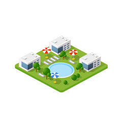 isometric 3d hotel with a pool vector image