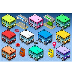 Isometric Rainbow Buses vector