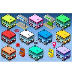 Isometric rainbow buses vector