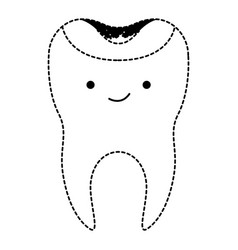 kawaii restored tooth with root in black dotted vector image