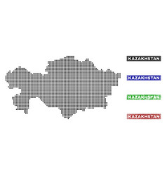 kazakhstan map in dot style with grunge title vector image