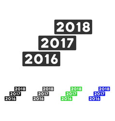 levels from 2016 to 2018 flat icon vector image