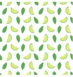 Lime seamless pattern with juicy limes and leaves vector