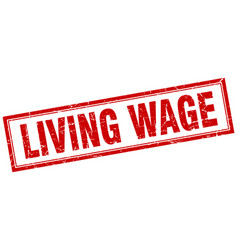 Living wage red grunge square stamp on white vector
