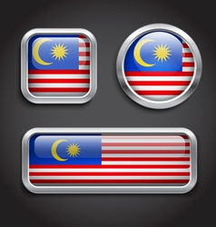 Malaysia flag glass buttons vector image vector image