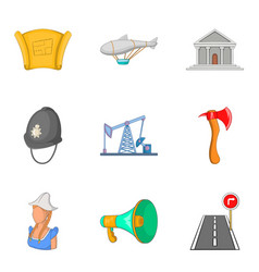 Manufacturing process icons set cartoon style vector