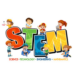 Many kids cartoon character with stem education vector