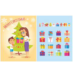 merry christmas postcard mother gives present son vector image