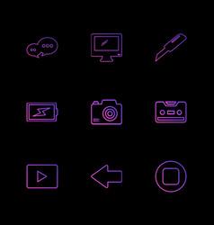 Message monitor cutter battery click casette vector