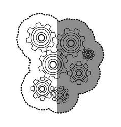 Monochrome contour sticker with pinions set vector