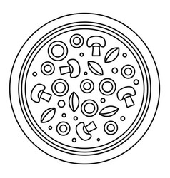 mushroom pizza icon outline style vector image