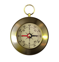 Old-fashioned retro brass compass realistic vector