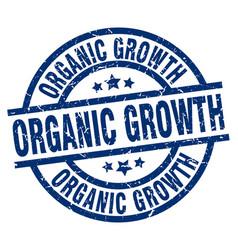 Organic growth blue round grunge stamp vector