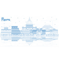 Outline rome italy city skyline with blue vector