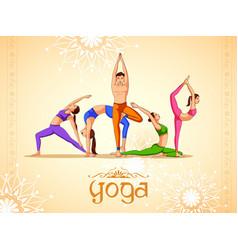 People doing asana for international yoga day vector