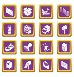 poste service icons set purple square vector image