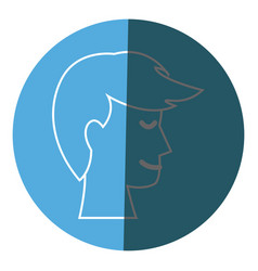 Profile head man male hairstyle icon circle vector