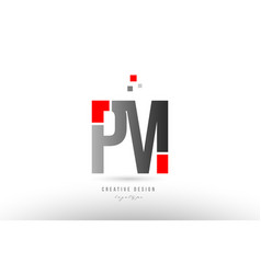 Red grey alphabet letter pm p m logo combination vector