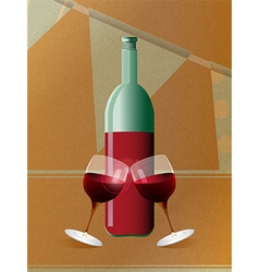 Red wine bottle and glasses over brown paper vector