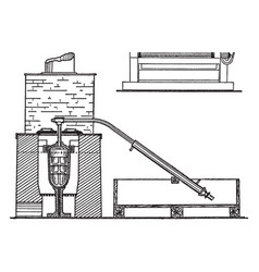 Retort furnace for gold bullion vintage vector
