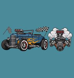 retro custom car vintage colorful concept vector image