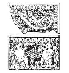 Roman console four hands discover vintage vector