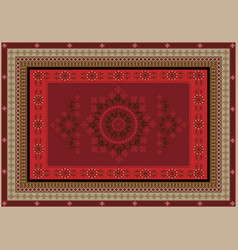Rug with oriental design in redvinous shades vector