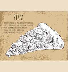 salami pizza slice on fast food poster with text vector image