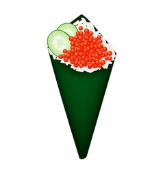 Salmon Roe and Avocado in Temaki Sushi vector