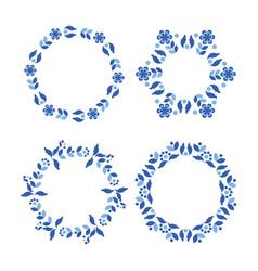 Scandinavian style blue wreath set vector