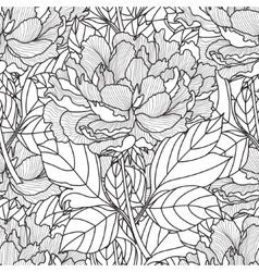 seamless peony bouquet coloring book page vector image