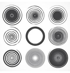 set grunge circle brush strokes vector image