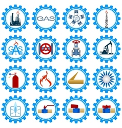 Set icons gas production industry vector image