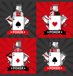 set of poker cards casino vector image