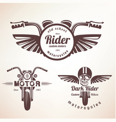 Set of vintage motorcycle labels badges and vector