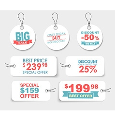 Set of white price tags of different shapes vector image