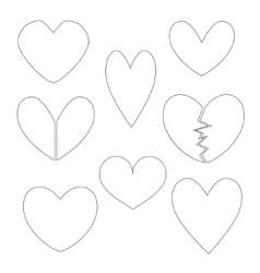 Set with Heart Contours vector
