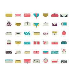 Set with stylish vogue purses and clutches vector