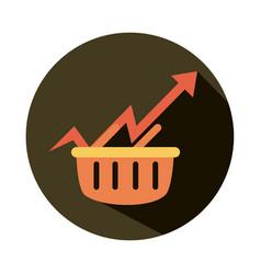 shopping basket market arrow up rising food vector image