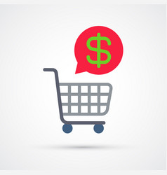 shopping cart trendy symbol trendy colored vector image