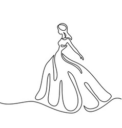 Silhouette of a slender bride in long dress vector