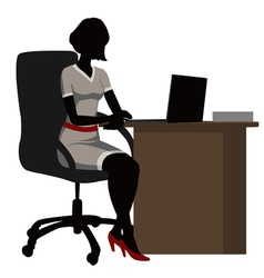 silhouette office woman vector image