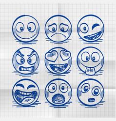 Sketch hand drawn set cartoon emoji vector